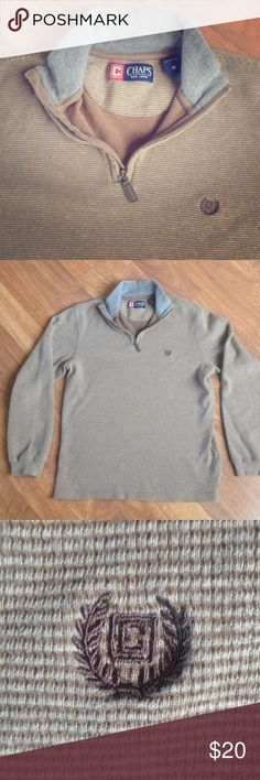 Men's Chaps Shirt Men's tan Chaps long sleeve cotton thermal zip-up top. Size M. No flaws/Mint condition. Smoke-free home. Chaps Shirts