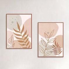 Leaf Prints, Wall Art Prints, Boho Decor, Art Decor, Plant Art, Diy Canvas Art, Botanical Art, Printable Wall Art, Illustration