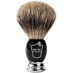 Black and Chrome Parker Pure Badger Shaving Brush-Shaving Brush-Lather and Blade