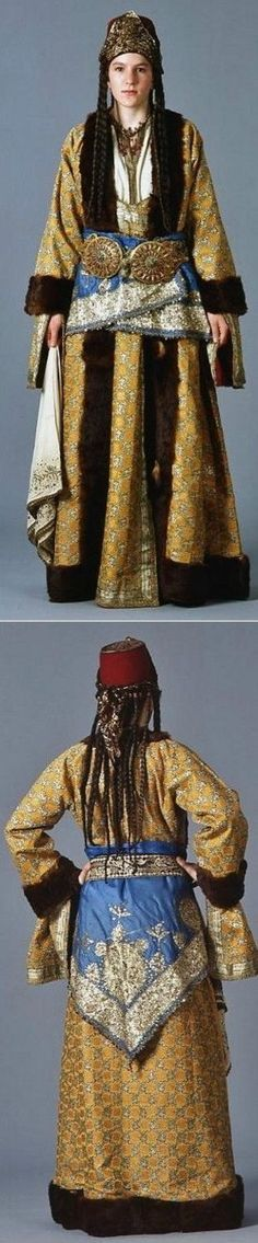 Greek bridal/festive costume from Silli (Sille), near Ikonion/Konya in Asia Minor/Turkey.  Late-Ottoman era, early 20th century.   The Greek-Orthodox inhabitants from Turkey were expelled from the country in 1923, in exchange for Muslim populations from Greece.  At this occasion Turkey lost a lot of cultural and economic potential, and the expelled lost their homeland.: