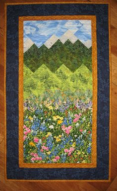 Summer Flowers and Mountains Art Quilt Fabric Wall by TahoeQuilts