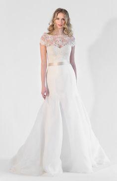 1618 - Strapless Organza A-Line Dress with separate Lace Bolero & Sash // www.jennyleebridal.com