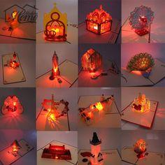 3D Laser Cut Pop Up Greeting Card LED Light Birthday Christmas Music Postcard With Envelope Handmade Gift Souvenir Paper Craft #Affiliate