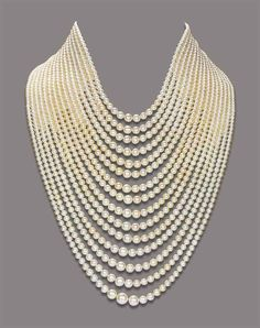 A NATURAL PEARL NECKLACE -- Composed of fifteen strands of graduated natural pearls, to the diamond-set bar and chain clasp, mounted in gold -- the pearls are natural saltwater pearls Pearl Jewelry, Vintage Jewelry, Jewelry Necklaces, Fine Jewelry, Pearl Necklaces, Pearl Bracelets, Pearl Rings, Strand Necklace, Ruby Rings