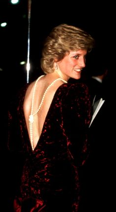 A knotted river of pearls flows down the deep V-decolletage of Catherine Walker's witty take on the premiere of Back to the Future, for which it was designed.