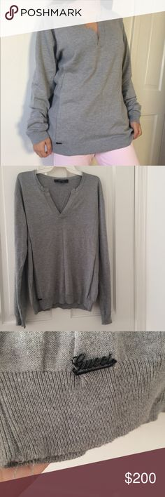 """men's Authentic Gucci v-neck sweater Perfect to layer for the fall or winter, this authentic Gucci sweater will keep you warm and stylish. Features a v-neck and embellished """"Gucci"""" logo on the bottom corner. Shows signs of wear and has a few stains and discoloration. Size XL men's. Gucci Sweaters V-Neck"""