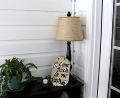 DIY twine-wrapped lamp shade
