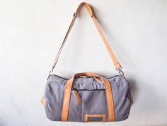 weekend bag Gym bag shoulder bag handmade canvas leather