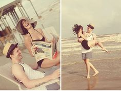 old-fashioned photos of couple on beach