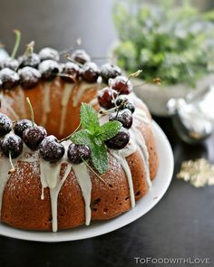 """To Food with Love: Cherry Cheese """"Christmas Wreath"""" Pound Cake"""