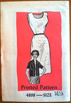 1960s Mail Order Womens Cocktail Dress and Jacket Pattern - Bust 35 - UNCUT - no. 4898. $7.95, via Etsy.