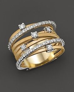 "I'm loving Fall 2013-14 Gold toned jewelry. Marco Bicego ""Goa Collection"" 18 Kt. Gold and Diamond Ring_0"