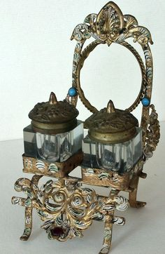 Antique Pocketwatch Holder and Inkwell from artsnends on Ruby Lane