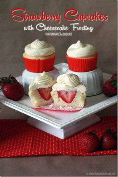 Surprise Strawberry Cupcakes with Cheesecake Frosting from thatswhatchesaid.net #desserts #cupcakes #cheesecake