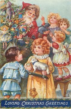 ■ Tuck DB...     Santa, behind tree, gives out toys to children | artist: A.L.B. (A.L. Bowley)  (first used 31/12/1907)