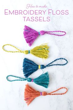 Embroidery Bracelets Patterns How to tassels using embroidery floss. So pretty! - Your embroidery scissors work hard and they deserve some special embellishment. An easy-to-make tassel is the perfect accessory for scissors of all shapes and sizes. Embroidery Floss Projects, Embroidery Materials, Dmc Embroidery Floss, Embroidery Scissors, Embroidery Bracelets, Embroidery Needles, Hand Embroidery Patterns, Embroidery Techniques, Embroidery Kits