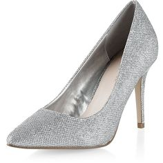 Silver Glitter Pointed Court Shoes (845 CZK) ❤ liked on Polyvore featuring shoes, pumps, silver, pointed toe shoes, silver glitter pumps, pointed toe high heel pumps, pointy high heel pumps and silver pointed toe pumps