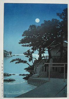 Kakizaki Bentendo Shrine at Shimoda, by Kawase Hasui, 1937. -- See also at: http://www.flickr.com/photos/mbell1975/6450372217/ and at: http://www.jaodb.com/db/ItemDetail.asp?item=35489