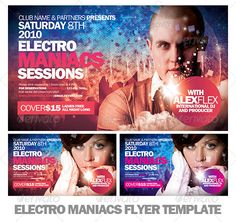 Electro Maniacs Flyer Template — Photoshop PSD #techno #flyer • Available here → https://graphicriver.net/item/electro-maniacs-flyer-template/671497?ref=pxcr