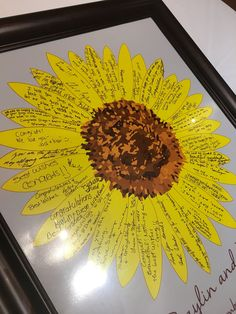 Alternative Sunflower Wedding Guest Book - Guest Book Poster Print - Bridal Shower Guest Book - 20x24 - Approx. 80 Signatures. Perfect for Summer Weddings! This sunflower wedding guest book print is the new way to capture the moment for your wedding or anniversary party and then will make a beautiful keepsake to hang in your home. This print features a single large sunflower with the petals thinly outlined in a burnt orange. This print features approximately 80 signatures. The size of…