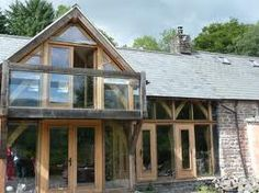 oak framed extemsion - Google Search Oak Framed Extensions, Oak Frame House, Glass Balcony, Glass Extension, Timber Frame Homes, Gazebo, Brick, Outdoor Structures, Cabin