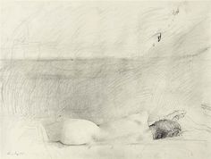 """Study for """"Barracoon""""    -  Andrew  Wyeth  1976  American 1917-2009  Pencil on paper  ,  18.00"""" x 23.75"""" (45.72cm x 60.33cm)  Private Collection"""