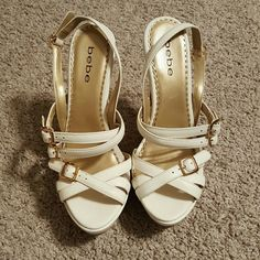 Bebe NEW white and gold wedges Leather and wood. Beautiful shoes never worn.. bebe Shoes Wedges