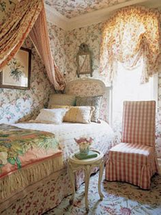 Designer Charlotte Moss is famous for her use of floral fabrics. In her Hamptons home, pictured here, Moss pairs different floral fabrics and wallpapers for a lady like room befitting an English country manor. Recreate this look in your own bedroom or dressing room using fabrics from Moss's Fabricut collection and floral wallpapers from York.