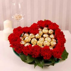 Heart shape basket arrangement of 16 Pc ferrero rocher chocolates with 18 Red Carnations. Valentines Flowers, Valentine Gifts, Flowers For Girlfriend, Chocolates, Candy Arrangements, Chocolate Bouquet, Candy Bouquet, Flowers Online, Candy Gifts