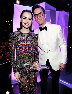 Matt Bomer with Lily Collins backstage at The 19th CDGA (Costume Designers Guild Awards) with Presenting Sponsor LACOSTE at The Beverly Hilton Hotel on February 21, 2017 in Beverly Hills, California.