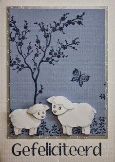 Marjoleine's blog: 4 kaarten met schapen èn weer met die nieuwe blauwe kleur van Papicolor