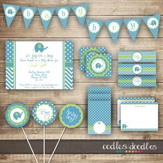 Elephant Baby Shower / Chevron & Polka Dots / Blue and Green PARTY PACKAGE  / Baby Boy Party Kit - Printable