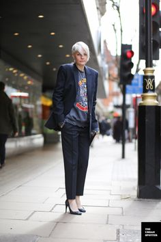 Who knew a pinstripe suit could be so cool? Kate Lanphear.