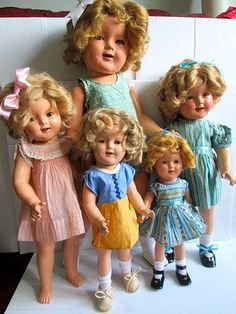 Wow nice TLC lot of Antique Composition Shirley Temple dolls 5 dolls!