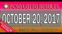 PCSO Lotto Results October 20, 2017 (6/58, 6/45, 4D, SWERTRES & EZ2 LOTTO)