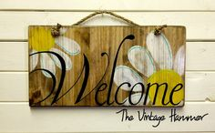 Welcome sign, wood sign sayings, daisies, hand painted, wood sign, welcome, porch sign, rustic sign, pallet wood, gifts for her, wedding