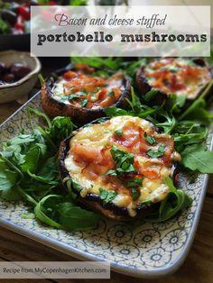 Cheese and bacon stuffed portobello mushrooms - a delicious low carb / LCHF side dish. Easy recipe here: MyCopenhagenKitchen.com