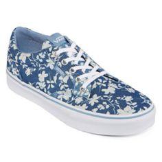 vans azules con flores