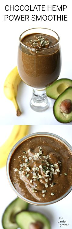 This delicious chocolate hemp smoothie with avocado and banana is packed with nutrients and gives such an energy boost! (vegan, gluten-free)