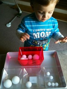 For the Love of Learning: Toddler Tray Activity - Sorting Small, Medium, & Large Objects. 3 different sized foam balls- sort into 3 different trays