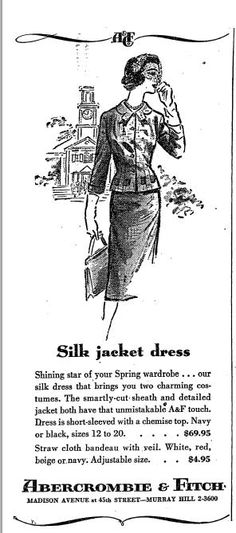vintage Abercrombie & Fitch newspaper ad Vintage Advertisements, Ads, Advertising, Banner Online, Shining Star, Jacket Dress, Silk Dress, Newspaper, Abercrombie Fitch