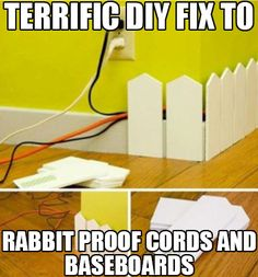Terrific DIY Fix To Rabbit Proof Cords and Baseboards!