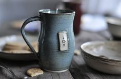 Blue Joy Coffee Mug by JustWork on Etsy, $22.00