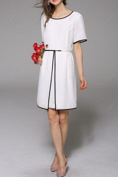 Hit Color Belted Chiffon Dress