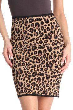 Pink Tartan Leopard Pencil Skirt In Camel - €110 ($147) - saksfifthavenue.com