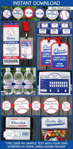 Type your own text into this HUGE Baseball Party Invitations & Decorations set. Includes Game Ticket Invitations & All Star Passes plus all the Baseball Birthday Invitations, Baseball Birthday Party, Sports Birthday, Sports Party, 1st Birthday Parties, Boy Birthday, Birthday Ideas, Baseball Party Games, Theme Parties
