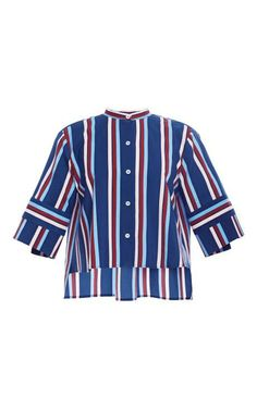 Large Stripe Leandro Cropped Button Up by Apiece Apart for Preorder on Moda Operandi