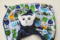 Lovey Blanket for a Baby Boy, Owl Security Blankie, Blue Minky with Urban Zoologie Owls in Ivory on Etsy, $22.00