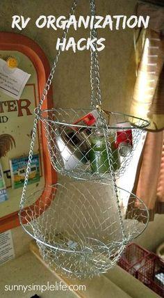 Hanging fruit basket ... | RV Storage Organization Hacks, camping hacks