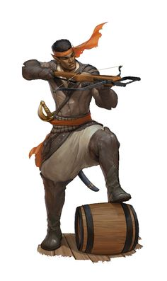 character concept ranger arbalist afro half-elf human pirate fighter wield sword crossbow docks leather armor